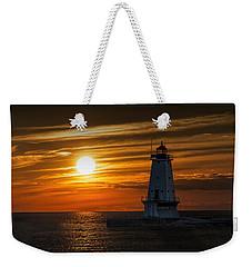 Ludington Pier Lighthead At Sunset Weekender Tote Bag