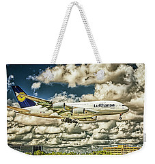 Lost In The Clouds Lufthansa A380 Named Hamburg-colorized Abstract Weekender Tote Bag