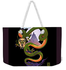 Lunar Chinese Dragon On Black Weekender Tote Bag by Melissa A Benson