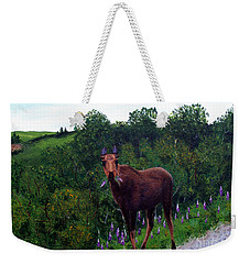 Lupine Loving Moose Weekender Tote Bag by Barbara Griffin