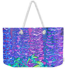 Weekender Tote Bag featuring the mixed media Lupines by Teresa Ascone