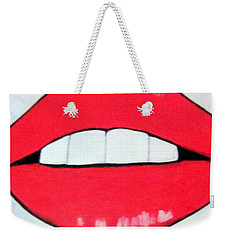 Weekender Tote Bag featuring the painting Luscious Lips by Nora Shepley