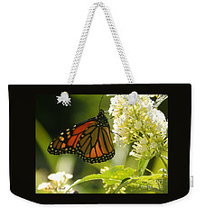 M White Flowers Collection No. W12 - Monarch Butterfly Sipping Nectar Weekender Tote Bag