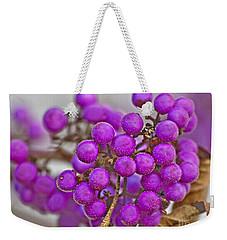 Macro Of Purple Beautyberries Callicarpa Plant Art Prints Weekender Tote Bag by Valerie Garner