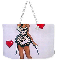 Weekender Tote Bag featuring the painting Made Withlove by Marisela Mungia