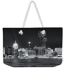 Madison - Wisconsin -  New Years Eve Panorama Black And White Weekender Tote Bag