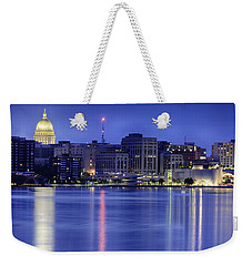 Weekender Tote Bag featuring the photograph Madison Skyline Reflection by Sebastian Musial