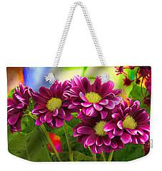 Magenta Flowers Weekender Tote Bag