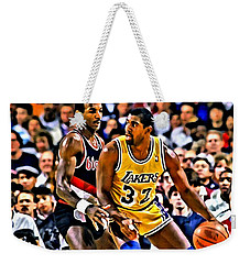 Magic Johnson Vs Clyde Drexler Weekender Tote Bag