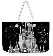 Magic Kingdom Castle In Black And White With Fireworks Walt Disney World Weekender Tote Bag