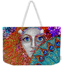 Weekender Tote Bag featuring the painting The Peacock Fan by Agata Lindquist