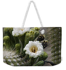 Weekender Tote Bag featuring the photograph Magnificant Bloom Of The Saguaro by Lucinda Walter