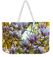 Weekender Tote Bag featuring the photograph Magnolia Maidens In A Border by Leanne Seymour