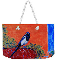 Magpie Singing At The Bath Weekender Tote Bag by Xueling Zou