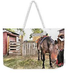 Weekender Tote Bag featuring the painting Mahaffie Stagecoach Stop And Farm by Liane Wright