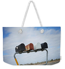 Weekender Tote Bag featuring the photograph Mailboxes by Erika Weber