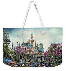 Main Street Sleeping Beauty Castle Disneyland Textured Sky Weekender Tote Bag