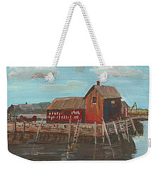 Maine Fishing Shack Weekender Tote Bag