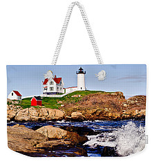 Weekender Tote Bag featuring the photograph Maine's Nubble Light by Mitchell R Grosky