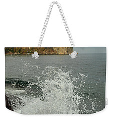 Weekender Tote Bag featuring the photograph Making A Splash At Split Rock Lighthouse  by James Peterson