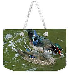 Male And Female Wood Ducks Weekender Tote Bag by Brenda Brown