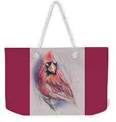 Male Cardinal In Winter Weekender Tote Bag