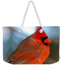 Male Cardinal  Weekender Tote Bag by Kerri Farley