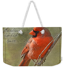 Male Cardinal On Twigs With Bible Verse Weekender Tote Bag by Debbie Portwood