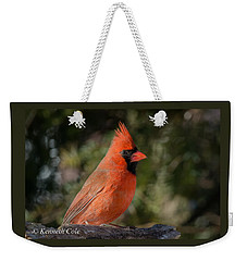 Male Northern Cardinal Weekender Tote Bag
