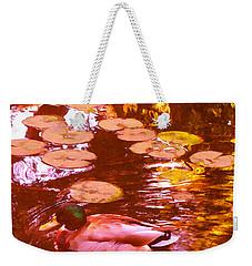 Mallard Duck On Pond 3 Square Weekender Tote Bag