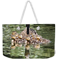 Mallard Hen With Ducklings And Reflection Weekender Tote Bag