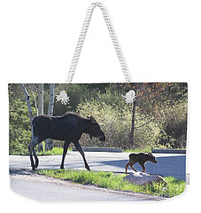Mama And Baby Moose Weekender Tote Bag by Fiona Kennard
