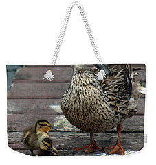 Mama Duck And Ducklings Weekender Tote Bag by Pamela Walton