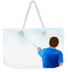 Weekender Tote Bag featuring the painting Man Fishing by Marian Cates