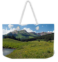 Man Fly-fishing In Slate River, Crested Weekender Tote Bag