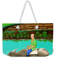 Weekender Tote Bag featuring the painting Man Riding A Carabao by Cyril Maza