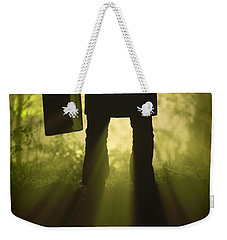 Weekender Tote Bag featuring the photograph Man With Case In Fog by Lee Avison
