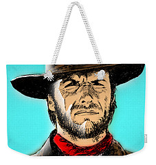 Weekender Tote Bag featuring the mixed media Clint Eastwood by Salman Ravish