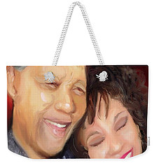 Weekender Tote Bag featuring the painting Mandela And Whitney by Vannetta Ferguson