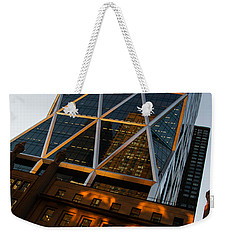Manhattan Blues And Oranges Weekender Tote Bag by Georgia Mizuleva