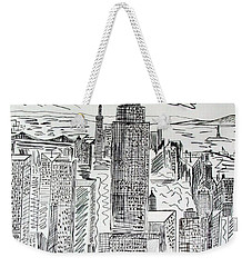 Weekender Tote Bag featuring the drawing Manhattan by Janice Rae Pariza