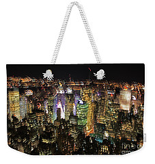 Weekender Tote Bag featuring the photograph Manhattan Skyline Empire State Wobbles by Andy Prendy