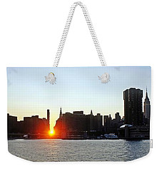 Weekender Tote Bag featuring the photograph Manhattanhenge 2011 by Lilliana Mendez