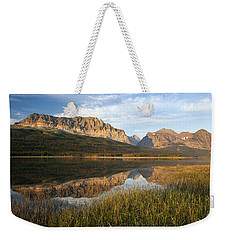 Weekender Tote Bag featuring the photograph Many Glacier Reflections by Jack Bell