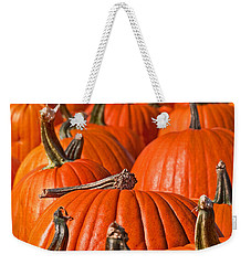 Weekender Tote Bag featuring the photograph Many Pumpkins In A Row Art Prints by Valerie Garner