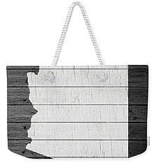 Map Of Arizona State Outline White Distressed Paint On Reclaimed Wood Planks Weekender Tote Bag by Design Turnpike