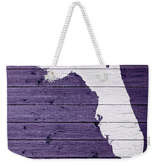 Map Of Florida State Outline White Distressed Paint On Reclaimed Wood Planks Weekender Tote Bag by Design Turnpike