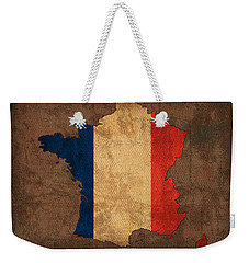 Map Of France With Flag Art On Distressed Worn Canvas Weekender Tote Bag