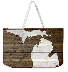 Map Of Michigan State Outline White Distressed Paint On Reclaimed Wood Planks Weekender Tote Bag by Design Turnpike