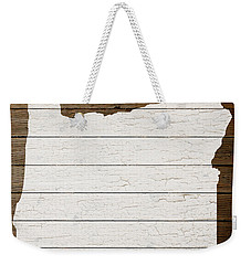 Map Of Oregon State Outline White Distressed Paint On Reclaimed Wood Planks Weekender Tote Bag by Design Turnpike